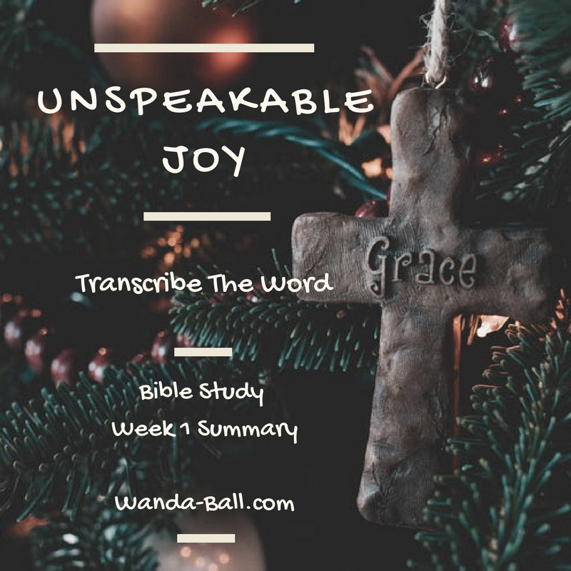 Unspeakable Joy Week 1 summary