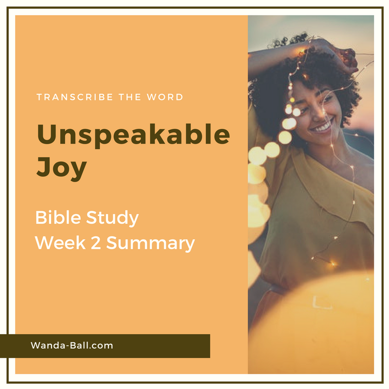 Unspeakable Joy week 2 summary