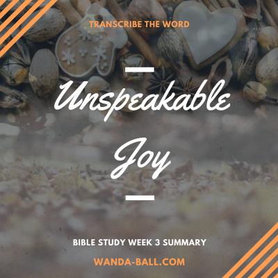 unspeakable joy week 3 summary